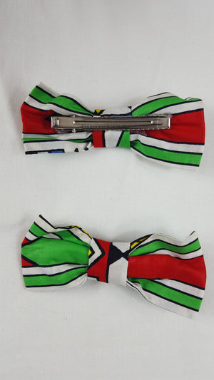 African HC08 print hair clip with bow. - yalinat
