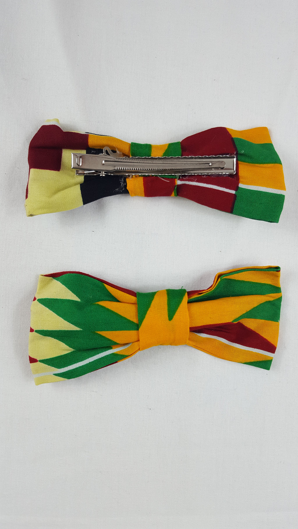 African HC01 print hair clip with bow. - yalinat