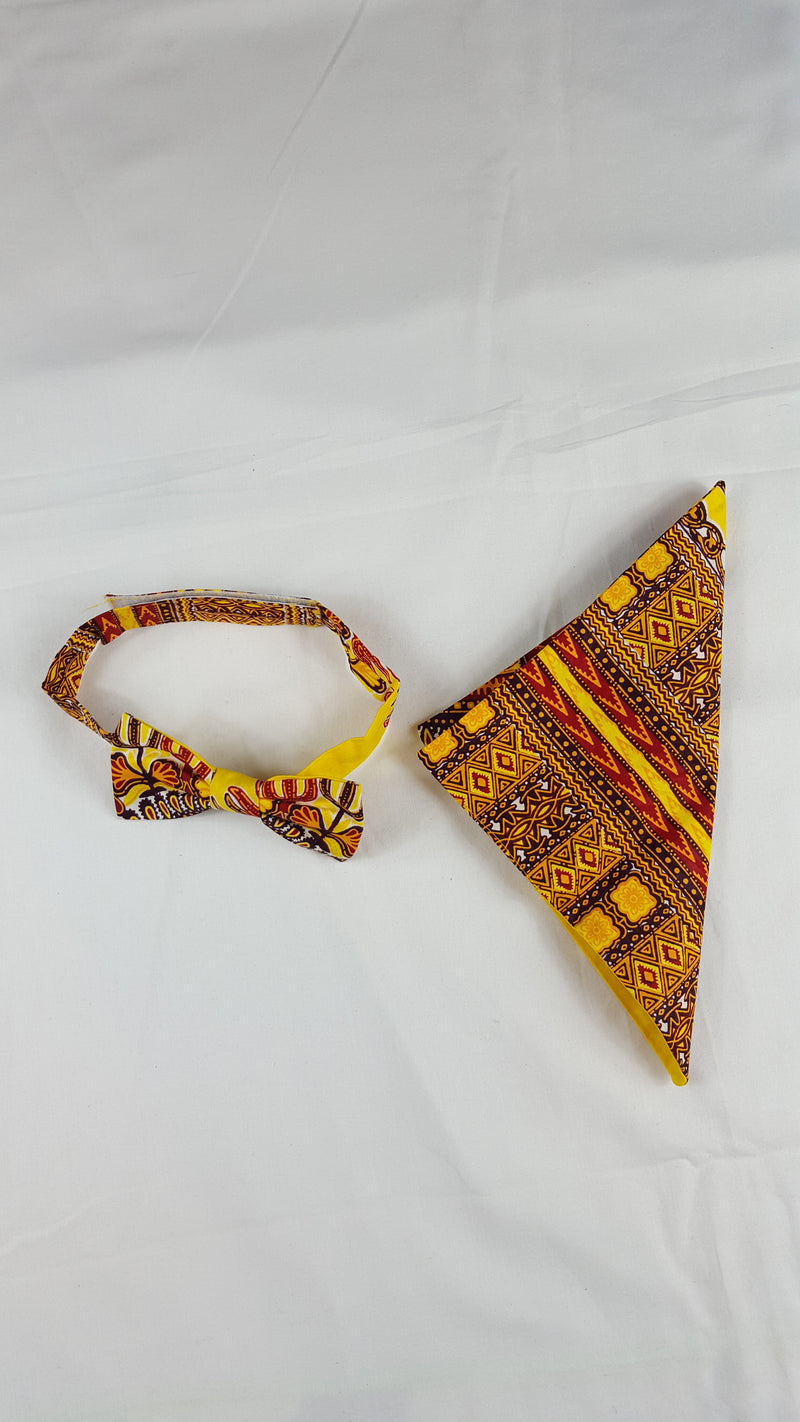 Dashiki Dani bow tie in set with african handkerchief. - yalinat