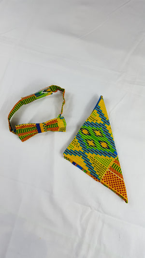 african print Yassa bow tie in set with african handkerchief. - yalinat