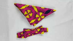 african print Cee bow tie in set with african handkerchief. - yalinat