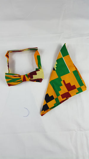 kente print sami bow tie in set with african handkerchief. - yalinat