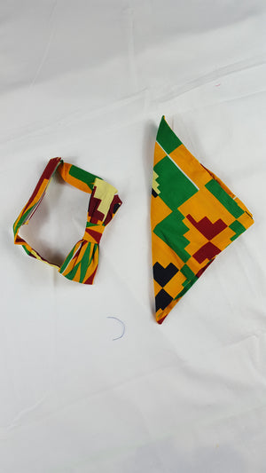 african print sami bow tie in set with african handkerchief, ankara bow tie for men. - yalinat
