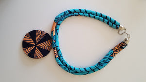 african NL06 print necklace, african necklace, dashiki necklace. - yalinat