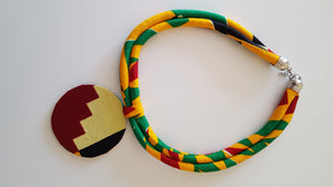 african kente NL04 print necklace for ladies. - yalinat