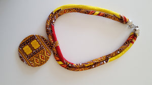 african NL01 print necklace, african necklace, dashiki necklace. - yalinat