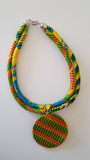 african NL02 print necklace, african necklace, dashiki necklace. - yalinat