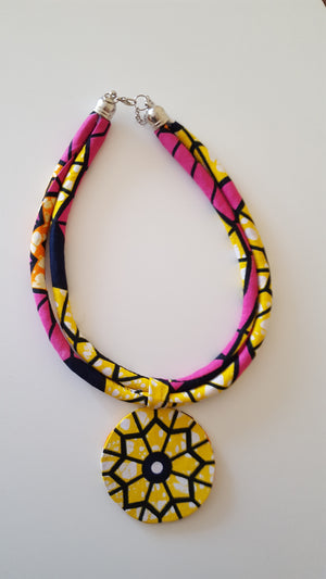 african NL05 print necklace, african necklace, dashiki necklace. - yalinat