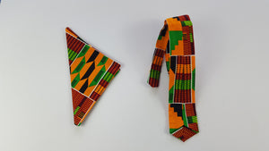 Wolla African fabric tie with pouch for men.. - yalinat