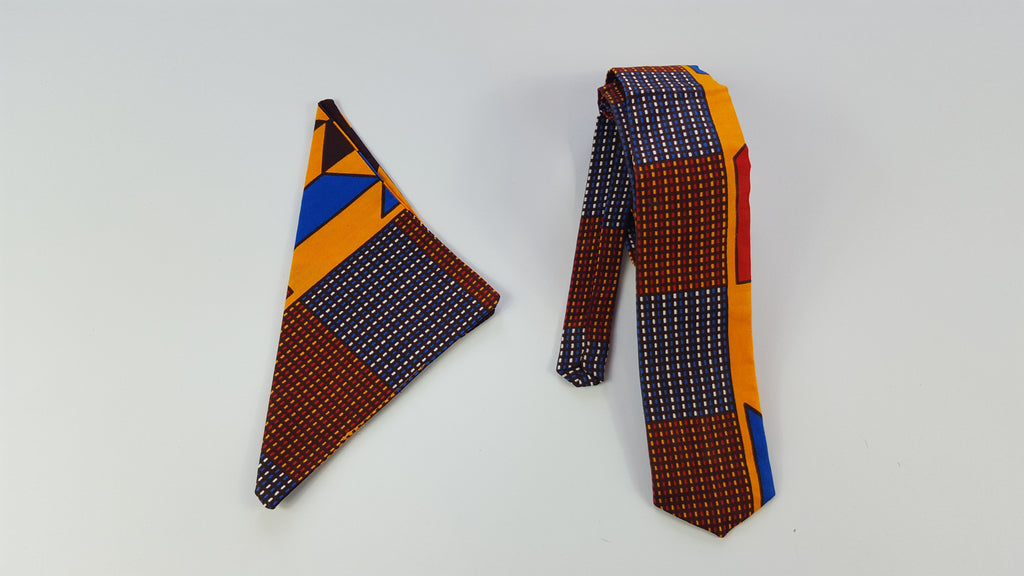 African Rola fabric tie with pouch for men. - yalinat