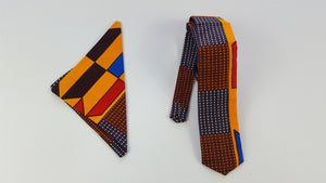 African Rola fabric tie with pouch for men, african necktie, ankara necktie - yalinat