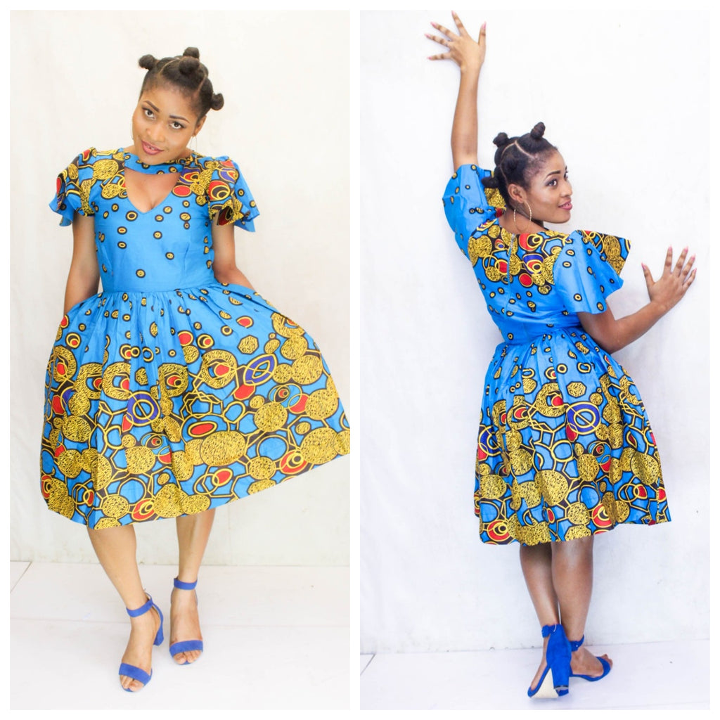 african print DEIDO midi dress, african clothing, african midi dress, ankara midi dress, african fashion. - yalinat