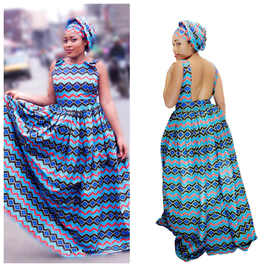 african Babich print maxi dress, african clothing, african maxi dress, ankara maxi dress, african fashion. - yalinat