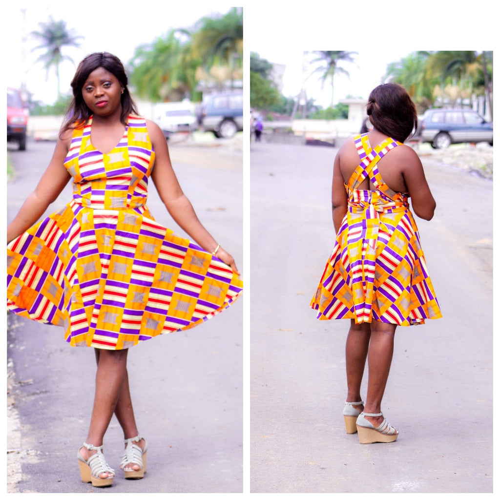 african print PATOU midi dress, african clothing, african midi dress, ankara midi dress, african fashion. - yalinat
