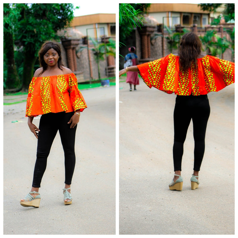 african print Badou top for ladies. - yalinat