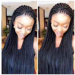 Full Lace Cornrows braided wig fulani braided unit cornrow braids box braids wig box braided faux locs wig tribal braids. BR-00045-L - yalinat