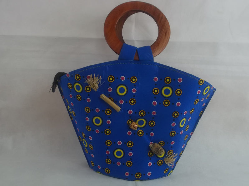 HB07 African print Handbag with wooden handle| african bags| ankara| - yalinat