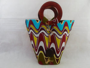 HB11 African Basket with wooden handle| african bags| African basket| - yalinat
