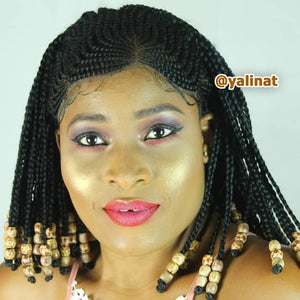 Sylvie custom made african american braided wig with beads for women