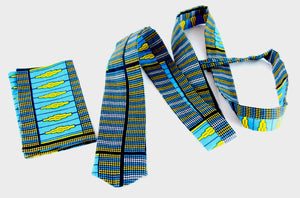 African fabric tie with pouch for men. - yalinat