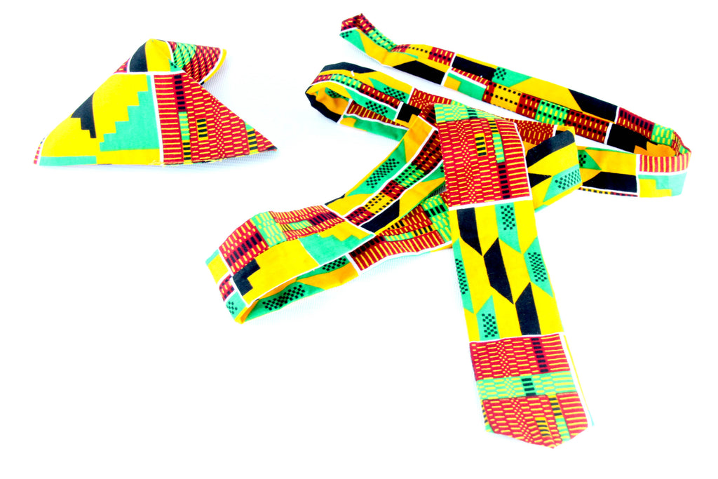 African fabric tie with pouch for men.. - yalinat