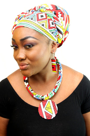african NL03 print necklace for ladies - yalinat