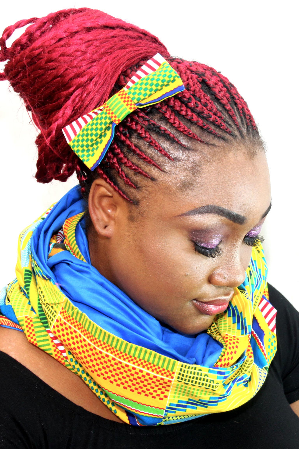 African HC07 print hair clip with bow. - yalinat