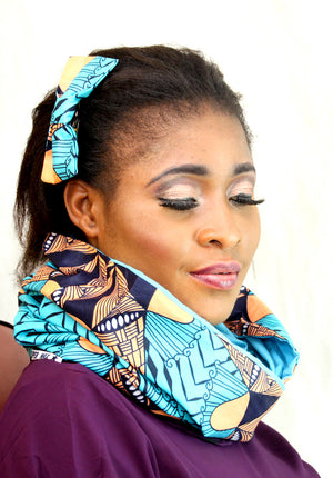 African Hassaa unisex  cotton wax snood, Unisex handmade snood., - yalinat