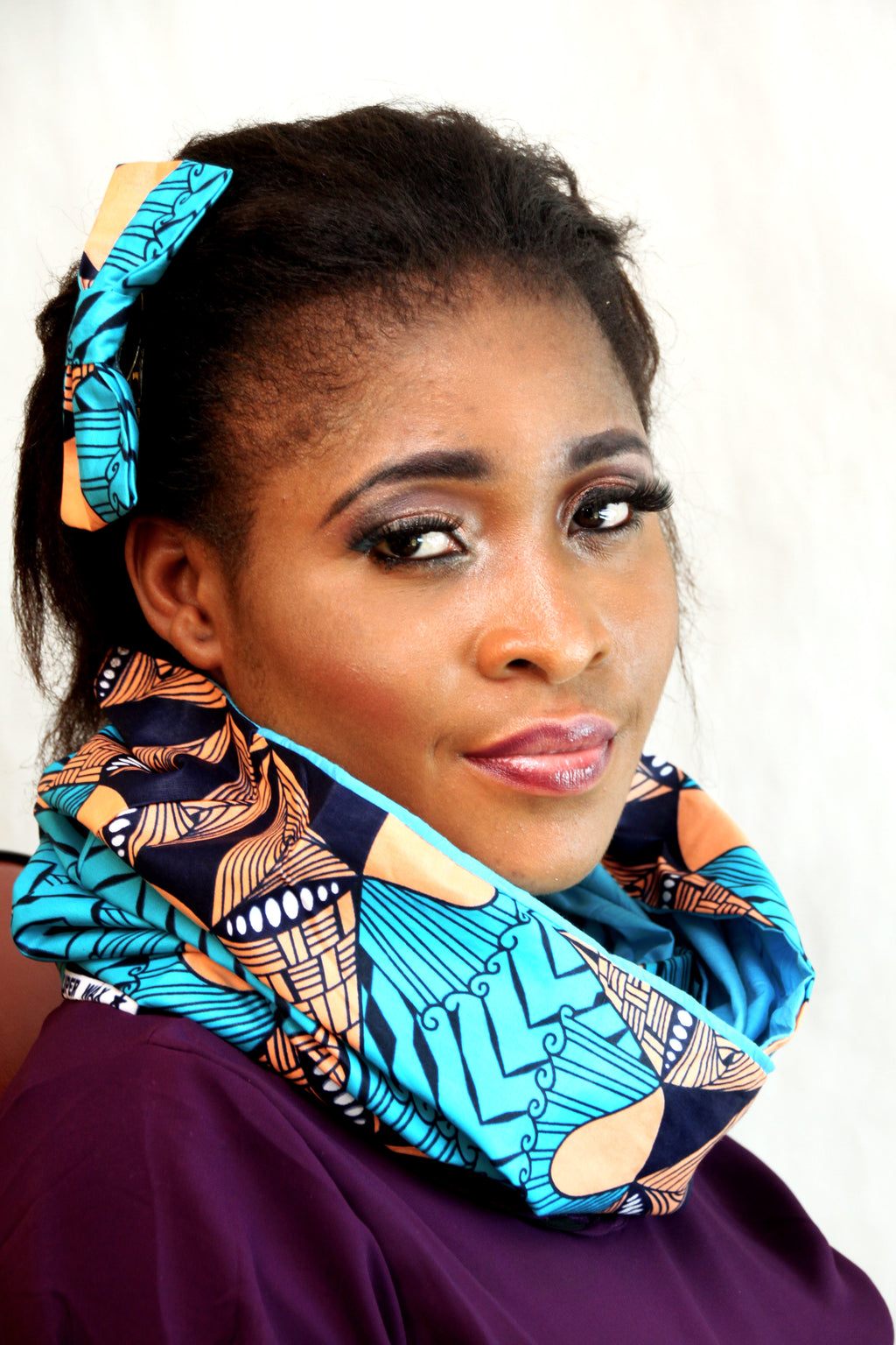 African HC09 print hair clip with bow. - yalinat