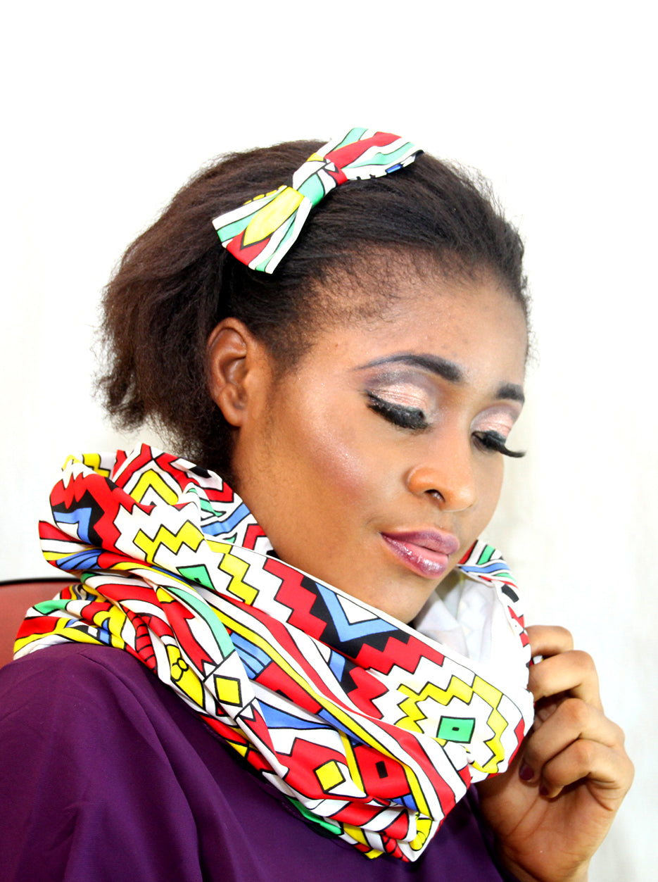 African Bet unisex  cotton wax snood, Unisex handmade snood. - yalinat