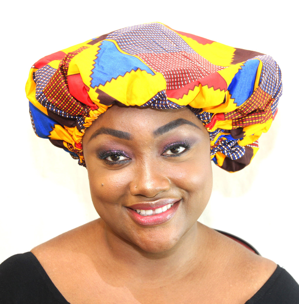 African print BE01 satin & wax Beanie, african print hat for ladies. - yalinat