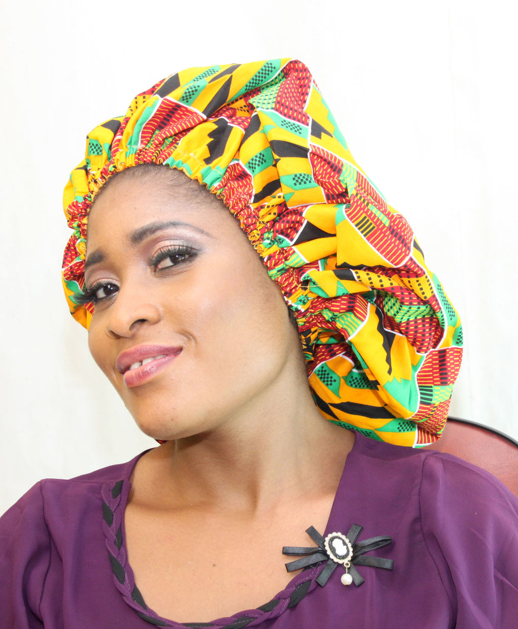 African print BE03 satin & wax Beanie, african print hat for ladies, - yalinat