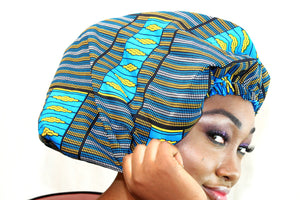 African print BE02 satin & wax Beanie, african print hat for ladies, - yalinat