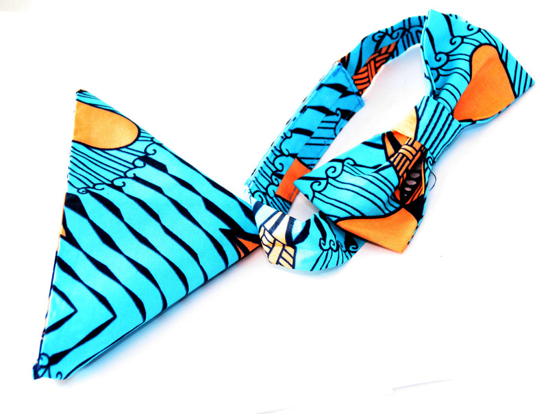 african print Bouda bow tie in set with african handkerchief, bow tie - yalinat