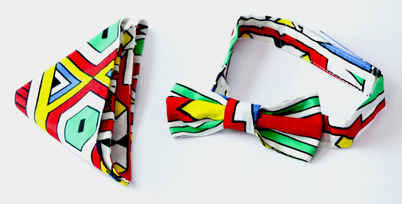 african print Nyabe bow tie in set with african handkerchief. - yalinat