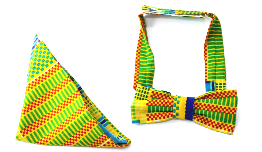 african print Yassa bow tie in set with african handkerchief, bow tie - yalinat
