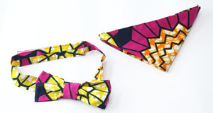 african print GERE bow tie in set with african handkerchief - yalinat