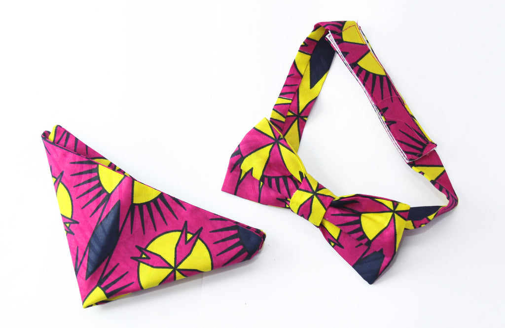 african print Cee bow tie in set with african handkerchief, ankara bow tie, - yalinat