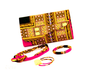 Dashiki WO2  Wallet in set with Earrings, necklace and bracelet, - yalinat