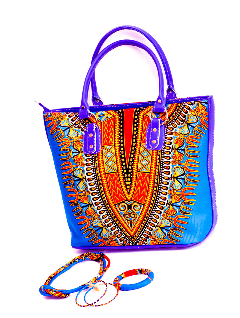 Dashiki HB20 Hand bag in set with Earrings, necklace and bracelet. - yalinat