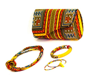Dashiki WO1 Wallet in set with Earrings, necklace and bracelet, Wallet - yalinat