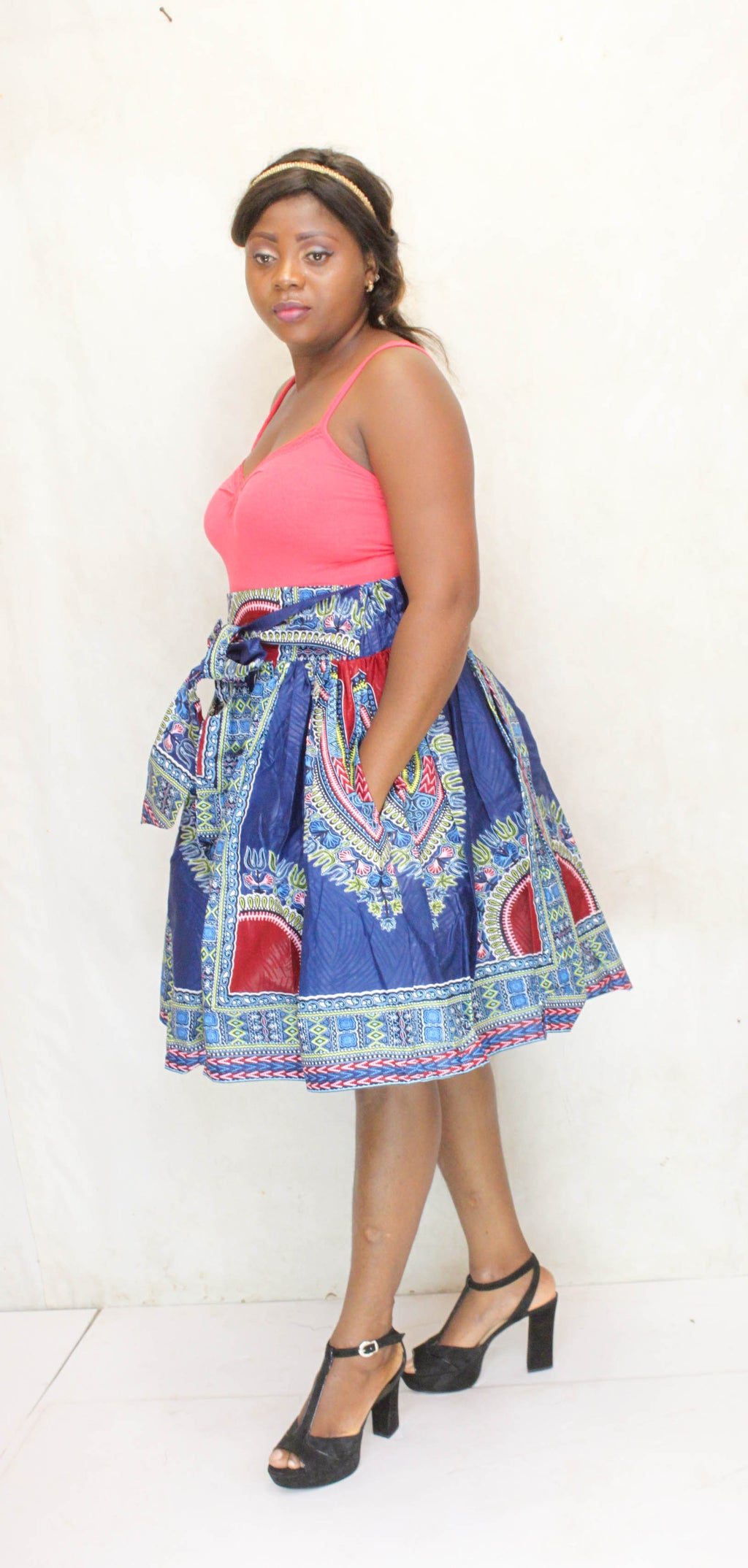 Dashiki Batoula midi skirt for ladies, african midi skirt. - yalinat