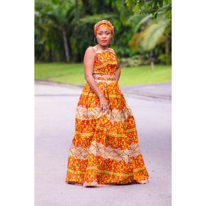 african Samba print maxi dress, african clothing, african maxi dress, ankara maxi dress, african fashion. - yalinat