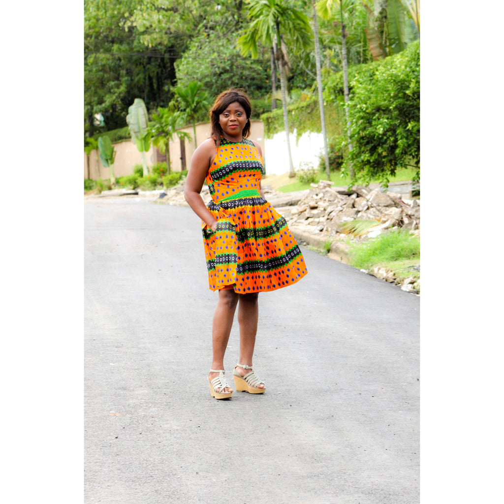 african print SOBOUM midi dress, african clothing, african midi dress, ankara midi dress, african fashion. - yalinat