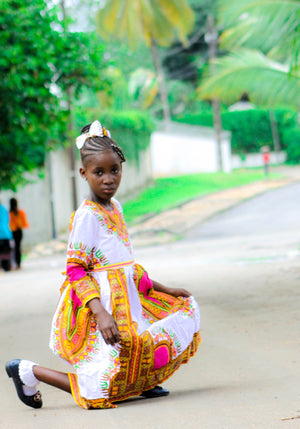 Meugak Dashiki Print Dress for Girls - yalinat