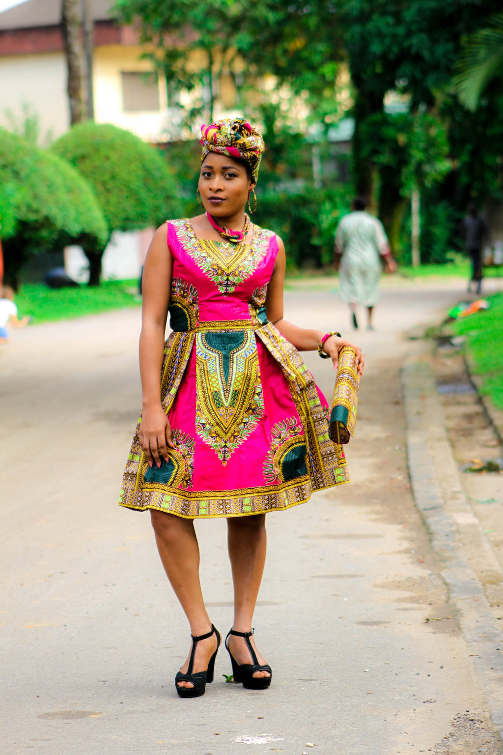 african print MAGNI midi dress, african clothing, african midi dress, ankara midi dress, african fashion. - yalinat
