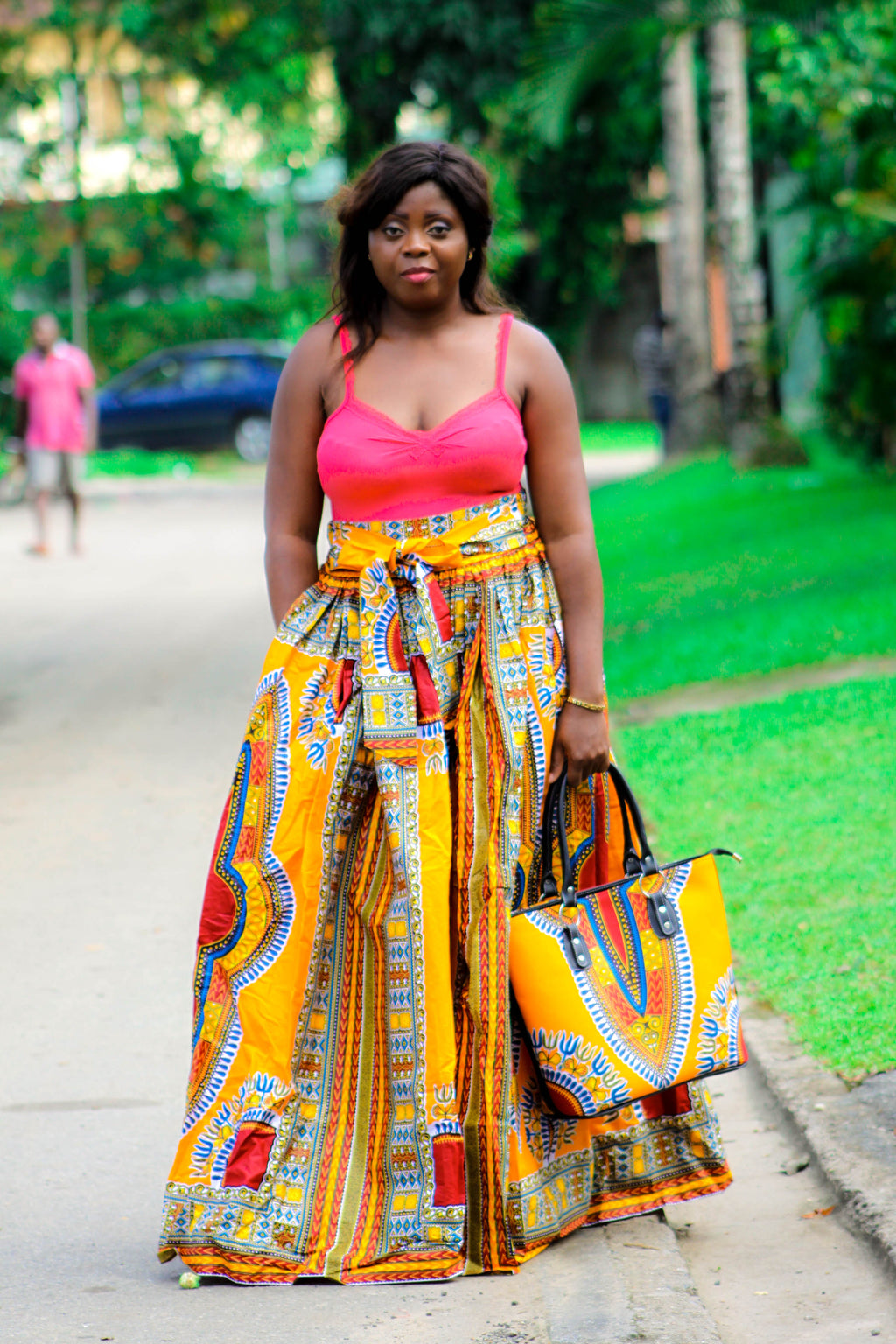 Dashiki Print Mongo maxi Skirt, African maxi skirt for ladies. - yalinat