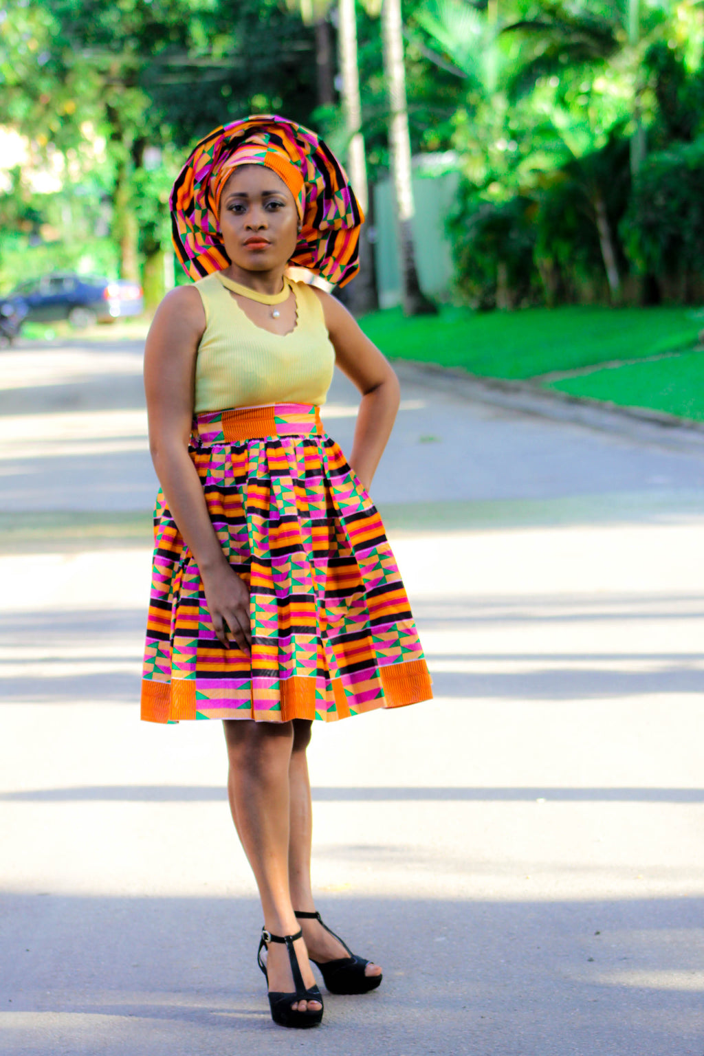 Kente Tangou Print Midi Skirt for ladies. - yalinat