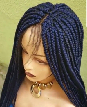 Blue braided wig,box braids,hand made wig,custom made braided wig,frontal wig,360 wig,, BR-00059-L - yalinat