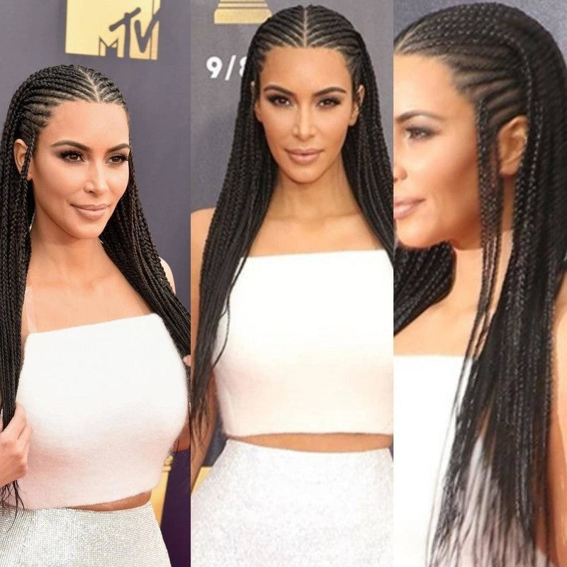 Kim Inspired Braided wig, Cornrow Wig, Ghana Weaving wig. BR-00035-L - yalinat